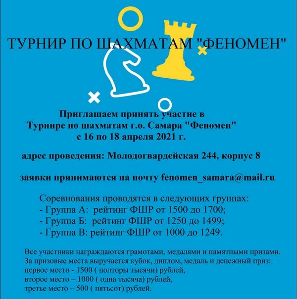 Турнир городского округа Самара по шахматам «Феномен» в 2021 году.